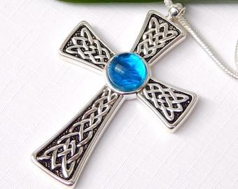 Celtic Cross Pendant - Sky Blue Fused Glass Necklace - Fused Glass Jewelry - Art Glass Jewelry