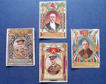 Lord Roberts VC Memorial Fund 1914 stamps, vintage. FM Sir John French, Lord Bishop, President Poincare, Lt. Cl. H.W Wilberforce.
