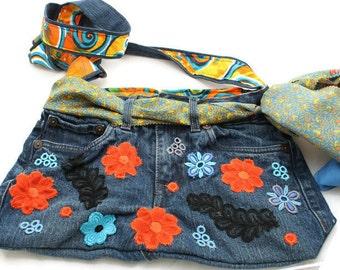 Flower jeans shoulder bag with adjustable strap