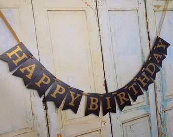 Happy Birthday Banner, Add Year, Mens Birthday Decoration, Adult Birthday Sign, Black and Gold Birthday Sign Happy 30th Birthday, 40th, 50th