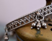 Indian silver bangle with bells plated sterling bracelet Churi Old tribal gypsy boho