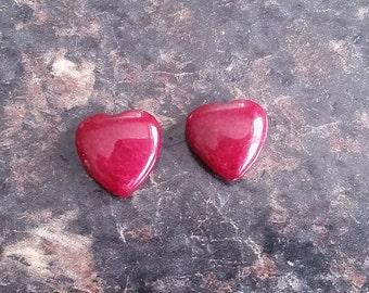 2 Pieces Heart Shaped Cranberry Jade 13mm Heart Beads