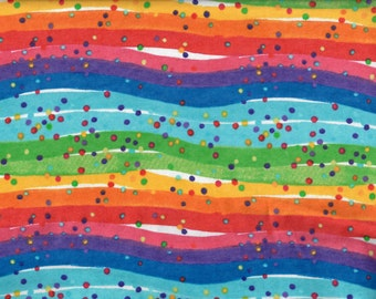 Rainbow flannel fabric - wavy stripes and dots red orange yellow green blue indigo violet  - AE Nathan - by the YARD