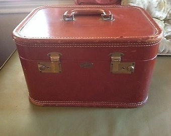 intage Leather and Fabric Tommy Traveler Cosmetic travel case luggage suitcase
