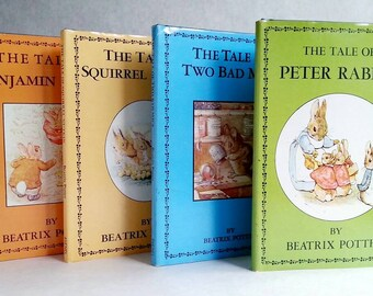 CLEARANCE Vintage Beatrix Potter - Peter Rabbit, Benjamin Bunny, Squirrel Nutkin and Two Bad Mice - Set of 4