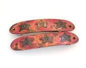 Vintage Large Hair Clip Barrette Lot Set of 2 Red Acid Wash Star Design Very Big Size Made in France