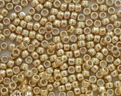 11/0 Toho PermaFinish Galvanized Starlight Seed Beads - 15 grams - 2525 - Toho 11/0 Seed Beads - Color 11-PF557 - Shiny Gold 11/0 Seed Beads
