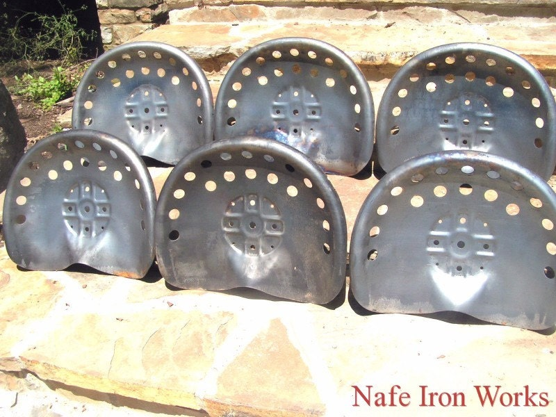 Six Steel Tractor Seats Bar Stool Tops Pan Style