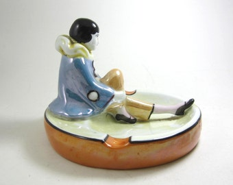 art deco figurine Pierrot ash tray trinket tray reclining figure made in Japan