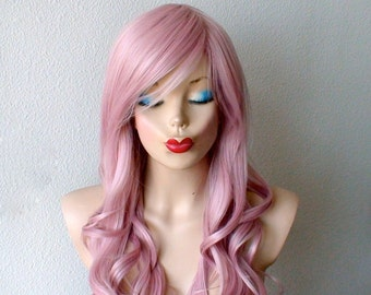 Pastel wig. Blush Pink wig. Light Mauve Pink wig. Long curly wig. Durable heat friendly synthetic wig for daily use or Cosplay.