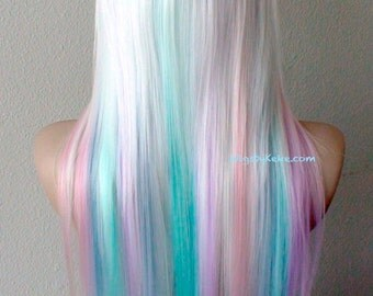 Pastel Rainbow wig. White hair with Candy pink, Lilac, Lavender, Aqua and sky blue Ombre wig.