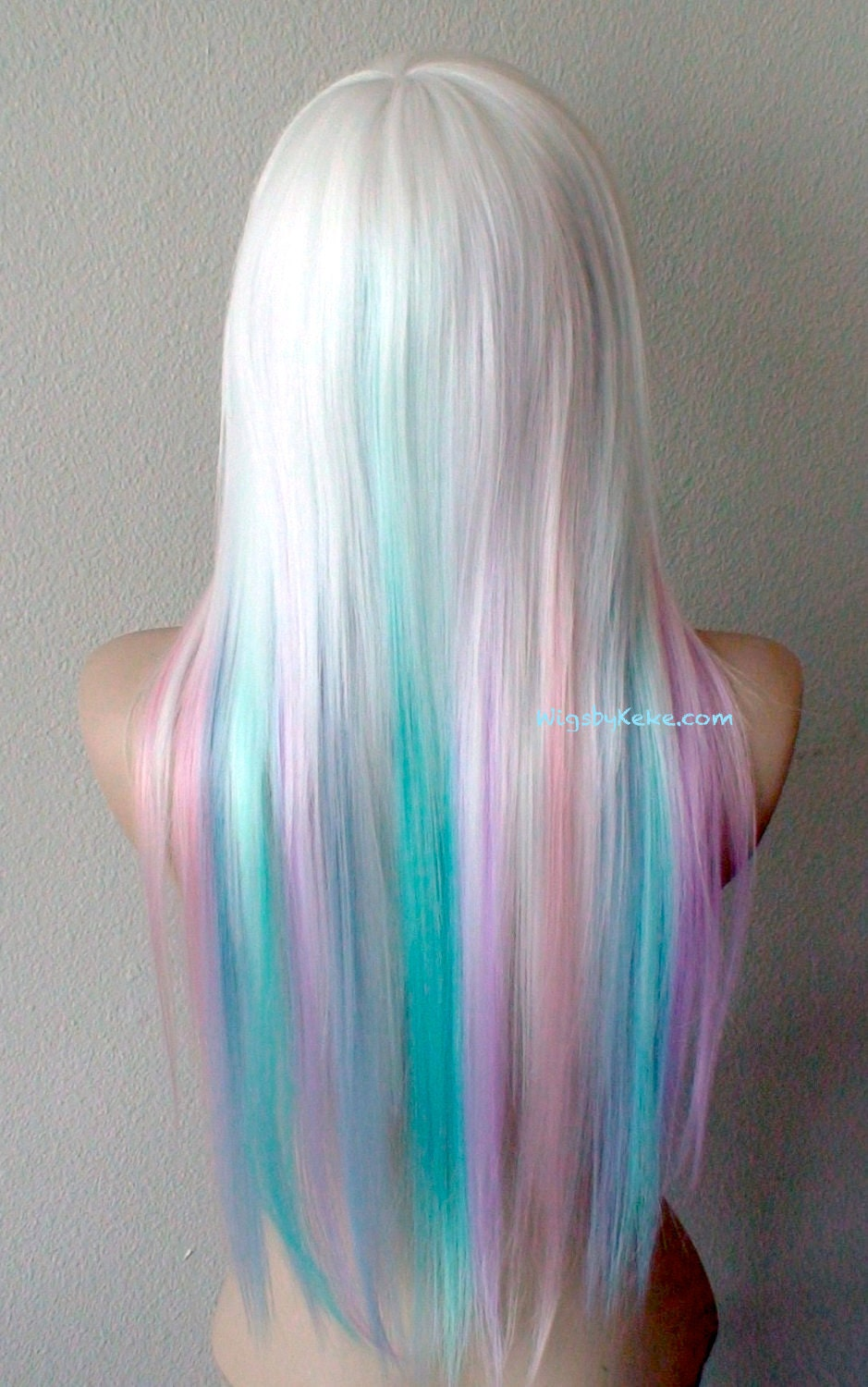 Pastel Rainbow Wig White Hair With Candy Pink Lilac