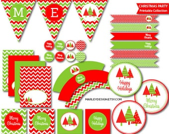 Christmas Party Printables Holiday Party Decorations Christmas Decoration Christmas Party Decor Holiday Decoration Printable Digital Chevron