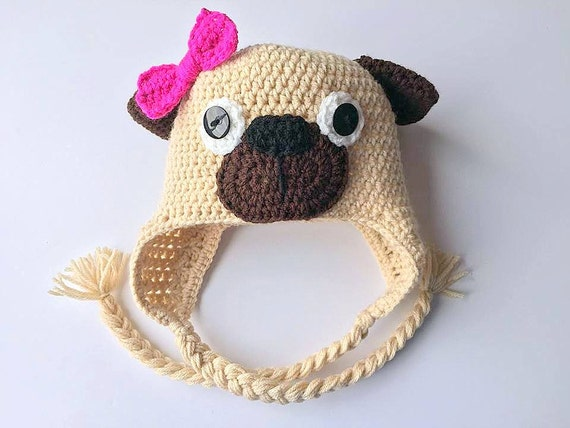 Crochet Pug Hat Crochet Pug Beanie Crochet Beanie Crochet