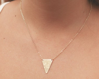 Gold Triangle Necklace Initial Personalized Necklace Gold Filled Or Silver letter necklace Monogram jewelry