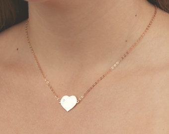 Gold Heart Necklace Dainty Love Layered Necklace Friendship Bridesmaid Necklace Everyday Gold Filled Jewelry