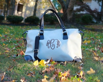 Monogrammed Khaki and Brown Weekend Travel Bag is the Perfect Luggage for Overnight Travel! Ships in 3 days! Great gift for college students