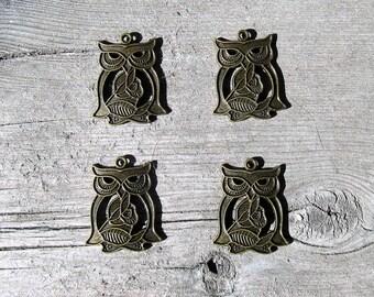 Antique brass owl charms, pendants - 4 pieces