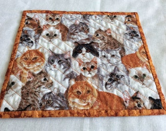 Cats galore on a field of white gray and rust, mini cat placemats, cat snack mats, cat wine rugs, cats cats cats, Xmas exchange gift,