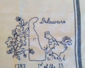 Hand Embroidered Tea Towel -- Delaware Blue Work