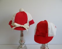 Off to the Races Vintage Man and Woman Jockey Hats - Red and White Jockey Hats - His and Hers - Costume - Kentucky Derby - Horse Races