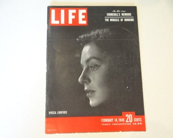 "1949 Life Magazine, February 14,  Winston Churchill War Memoirs  ""Miracle of Dunkirk"" - Viveca Lindfors"