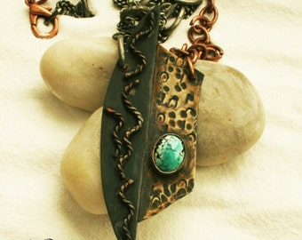 POLARITY copper, nickle, and turquoise necklace. Post apocalyptic