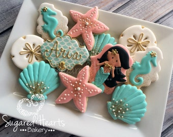 Mermaid Pink Glitter and Gold Cookies - 1 Dozen