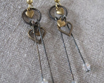 Hearts and Crystal Earrings