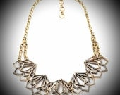 AfterLifeAccessories: Handmade & Repurpose Geometric Rhinestone Gold and Silver Bib Necklace