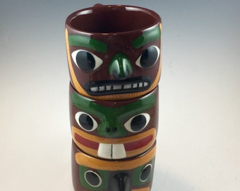 Rare and Wonderful Early 1950s Hinton Blaisdell Totem Mugs