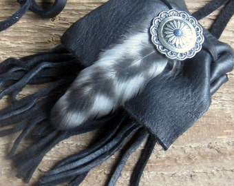 Medicine Bag, Necklace, Crystal pouch, Boho Bag, Leather Pouch, Drawstring Pouch