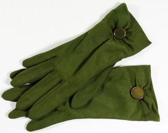 Vintage Olive Green Button Gloves