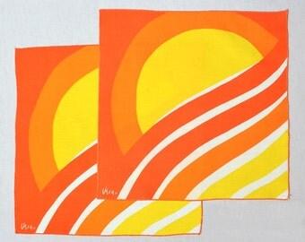 Vintage 70s Vera Neumann Sun Napkins 1970s Mod Sunrise Linens Hippie Boho Kitsch Mid Century Modern Home Decor Lot of 2