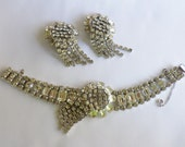 Reserved For Anthony Vintage Rhinestone Bracelet and Clip On Earrings Set