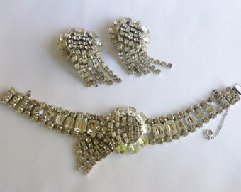 Vintage Rhinestone Bracelet and Clip On Earrings Set