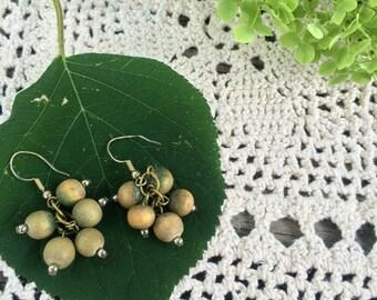 70s green painted wood earrings
