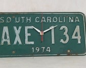 Vintage South Carolina License Plate Wall Clock // Green  // Upcycled // Handmade // Geekery // Clocks by DanO
