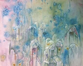 Crystals Original Painting Crystal Magic Art Drawing Acrylic Marbling Ink Watercolour Sketch Fantasy Healing