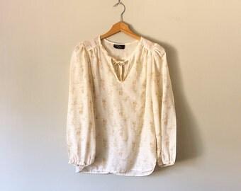 1970s blouse / 70s cream floral peasant blouse