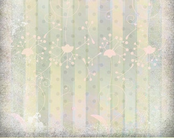 Digital Scrapbook Paper, Pastel Dandelion Stripes