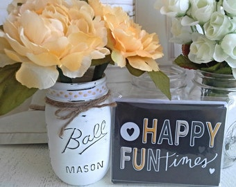 Cottage Chic Flower Pens with Painted Mason Jar Vase, Fun note cards, gift, girlbfriend, teacher,office, desk,  bithday,