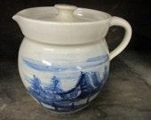 Paul Storie Pottery Cobalt Blue Barn Scene Signed Stoneware Pitcher Lidded