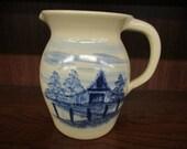 Paul Storie Pottery Marshall Texas Cobalt Blue Barn Scene Pitcher Made in USA