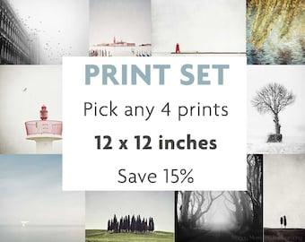 Print Set, Fits IKEA RIBBA, Gallery Wall Art, Set of 4 Prints, Wall Art Print Set, 12x12