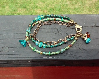 Triple Strand Boho Czech Glass Bead, Brass & Bronze Teals/Greens Bracelet