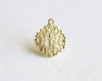 Vermeil Gold Small Ornate Flower Charm - 18k gold over 925 sterling silver, small flower charm