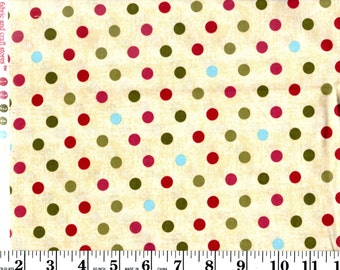 1 Yard, Red, Green, Blue and Mauve Dots on Cream