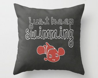 Just Keep Swimming quote  Chalkboard Art // Pillow Zippered Cushion Case Cover // Indoor or Outdoor 2-Sided 16X16 18X18 20X20 Square