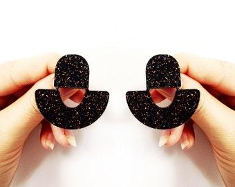 Laser Cut Dangle Glitter Studs - arch rainbow shape in black and copper glitter